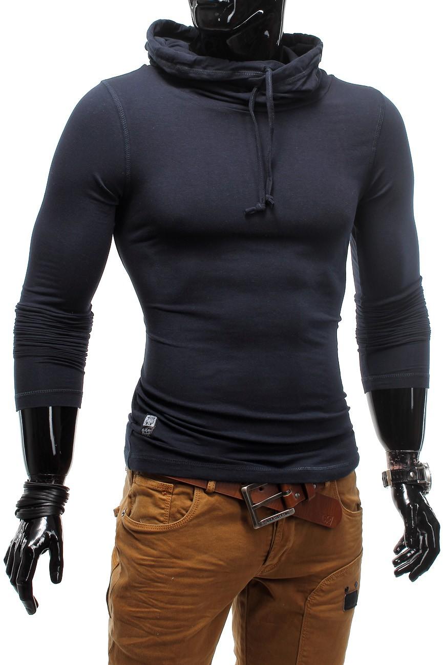 Longsleeve Hoodie Langarmshirt High Neck Figurbetont Urbanium Stretch Slim Fit