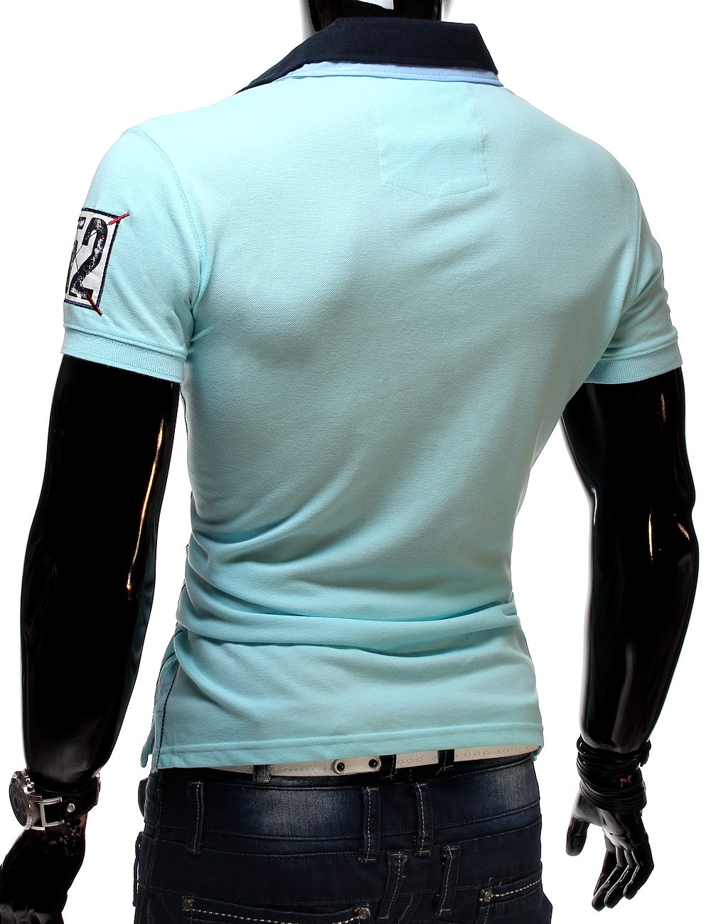 mc herren poloshirt t shirt polo polohemd kurzarm slim fit marine blue water ebay. Black Bedroom Furniture Sets. Home Design Ideas
