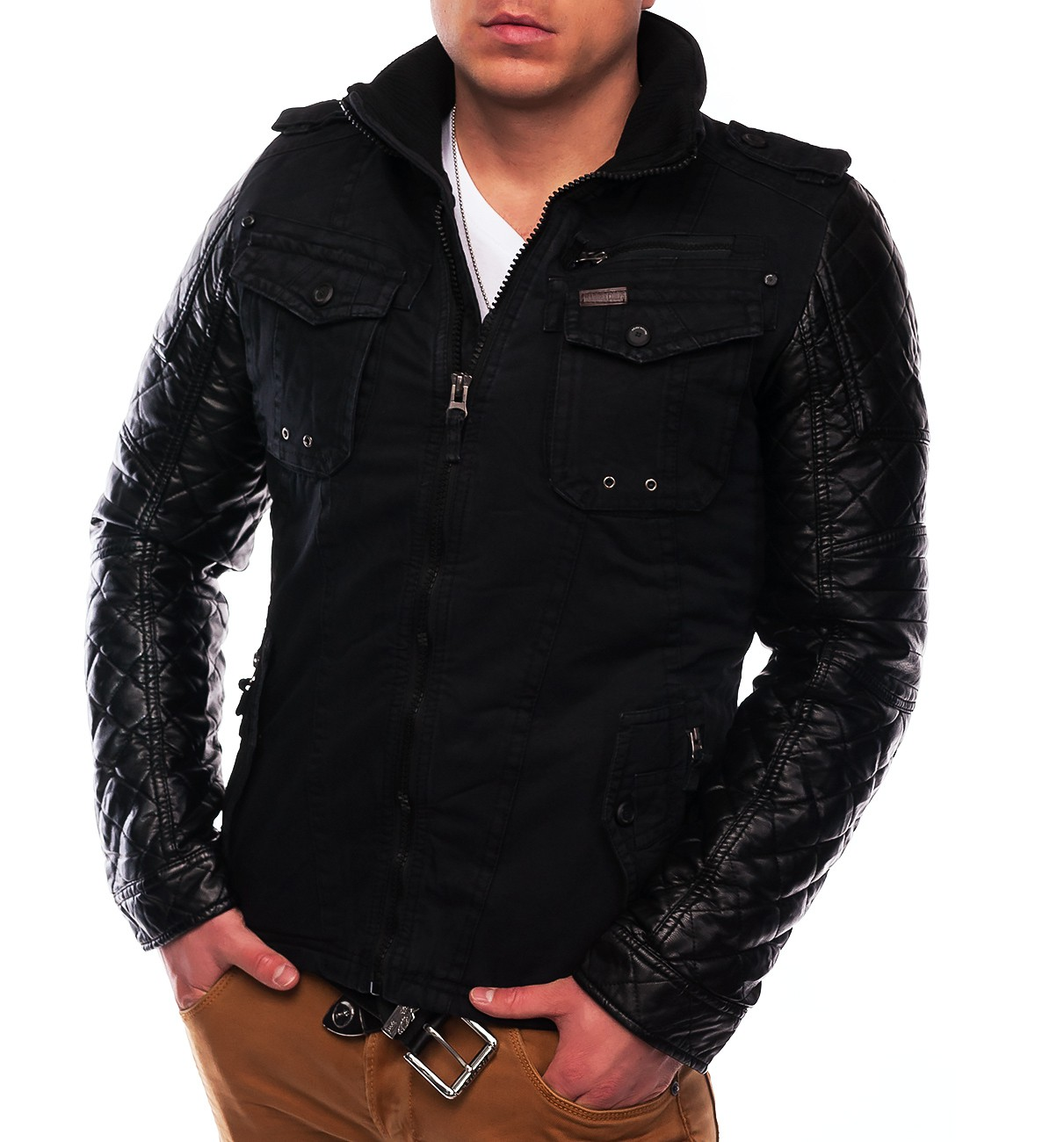 herren winterjacke tom biker jacke leder rmel gesteppt. Black Bedroom Furniture Sets. Home Design Ideas