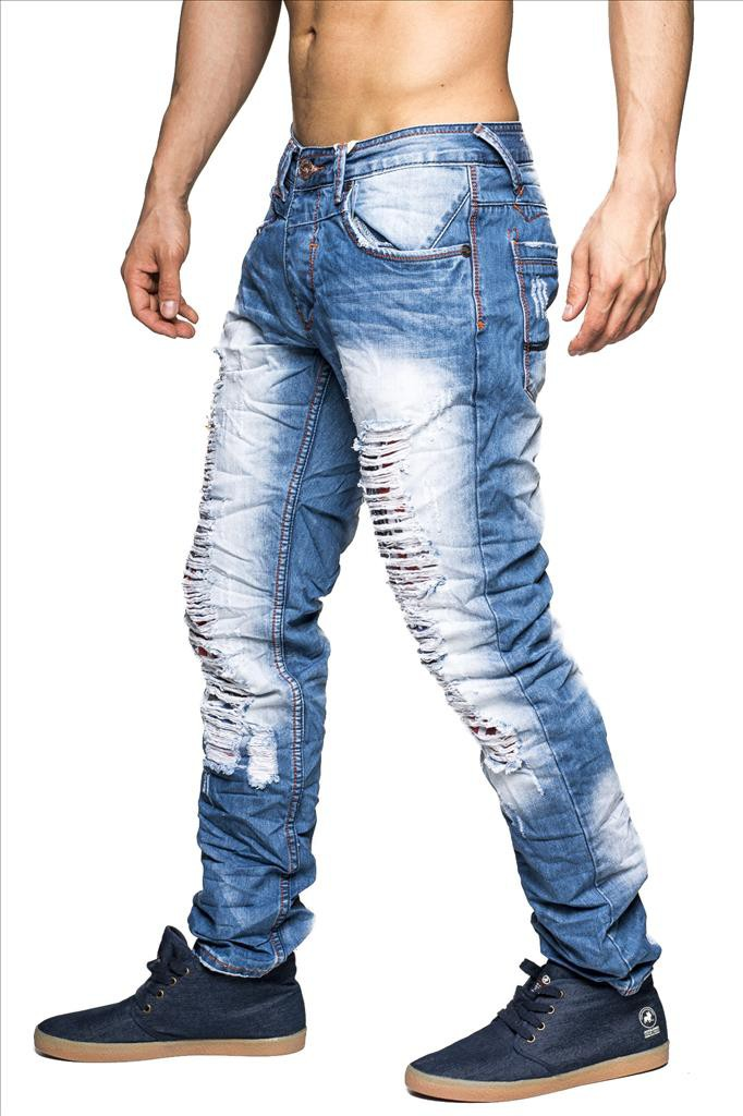 herren destroyed jeans new york id1321 slim fit hellblau herrenmode jeans. Black Bedroom Furniture Sets. Home Design Ideas