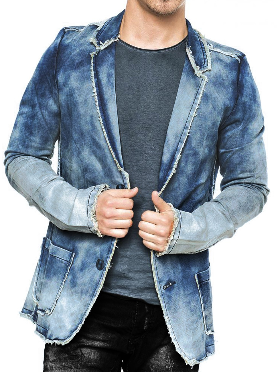herren jeanssakko jeansjacke sakko jeans vintage denim jacke pitt ebay. Black Bedroom Furniture Sets. Home Design Ideas