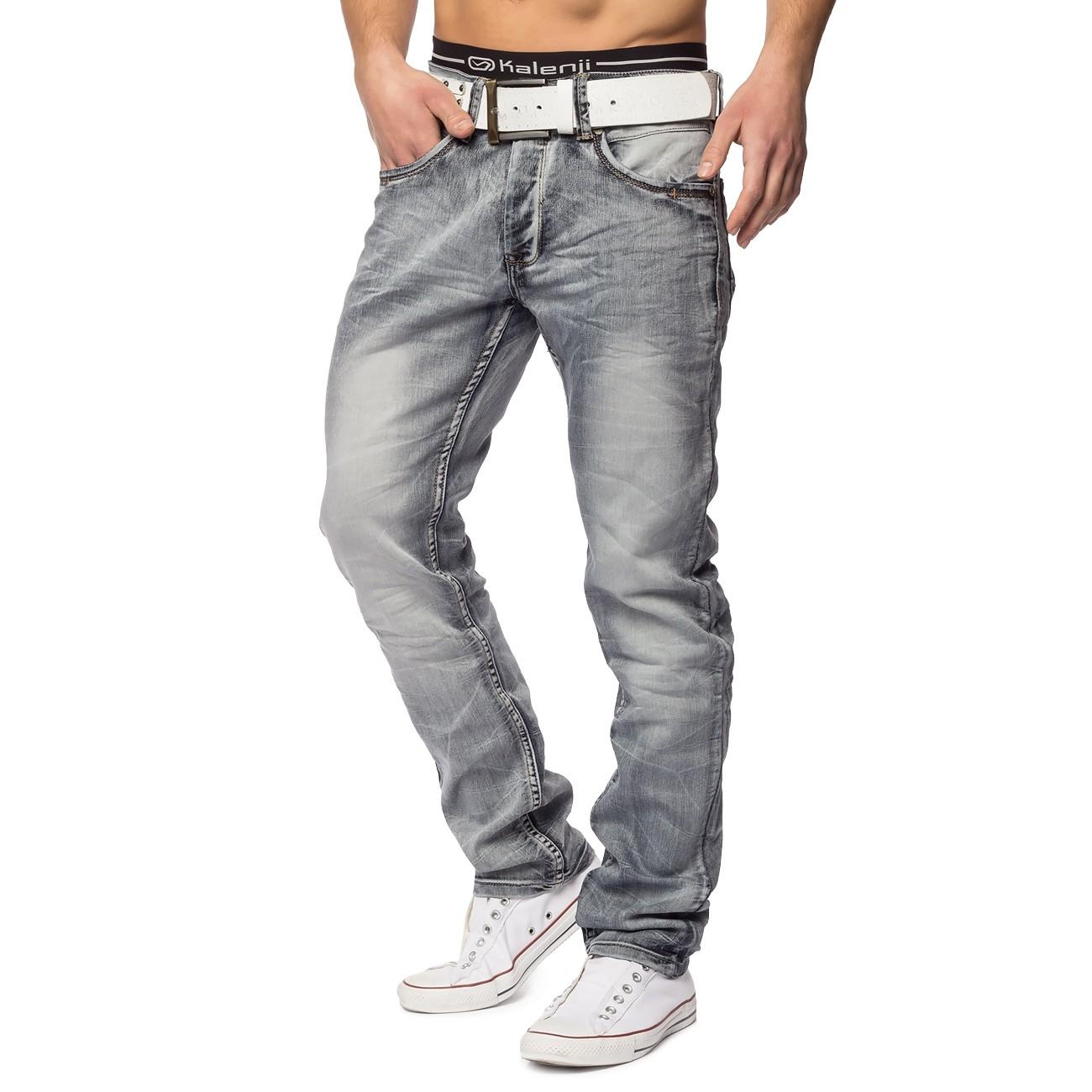 herren stretch vintage jeans used look waschung grau jeans. Black Bedroom Furniture Sets. Home Design Ideas