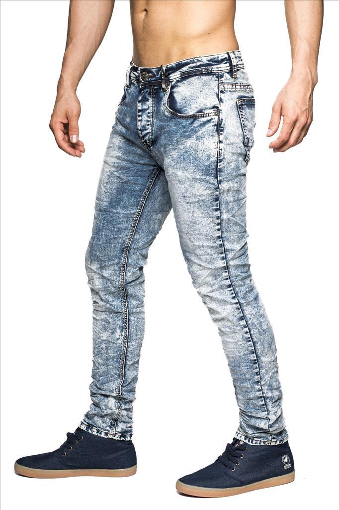 herren denim stretch jeans hose slim fit vintage bleached 5 pocket knitterstyle ebay. Black Bedroom Furniture Sets. Home Design Ideas