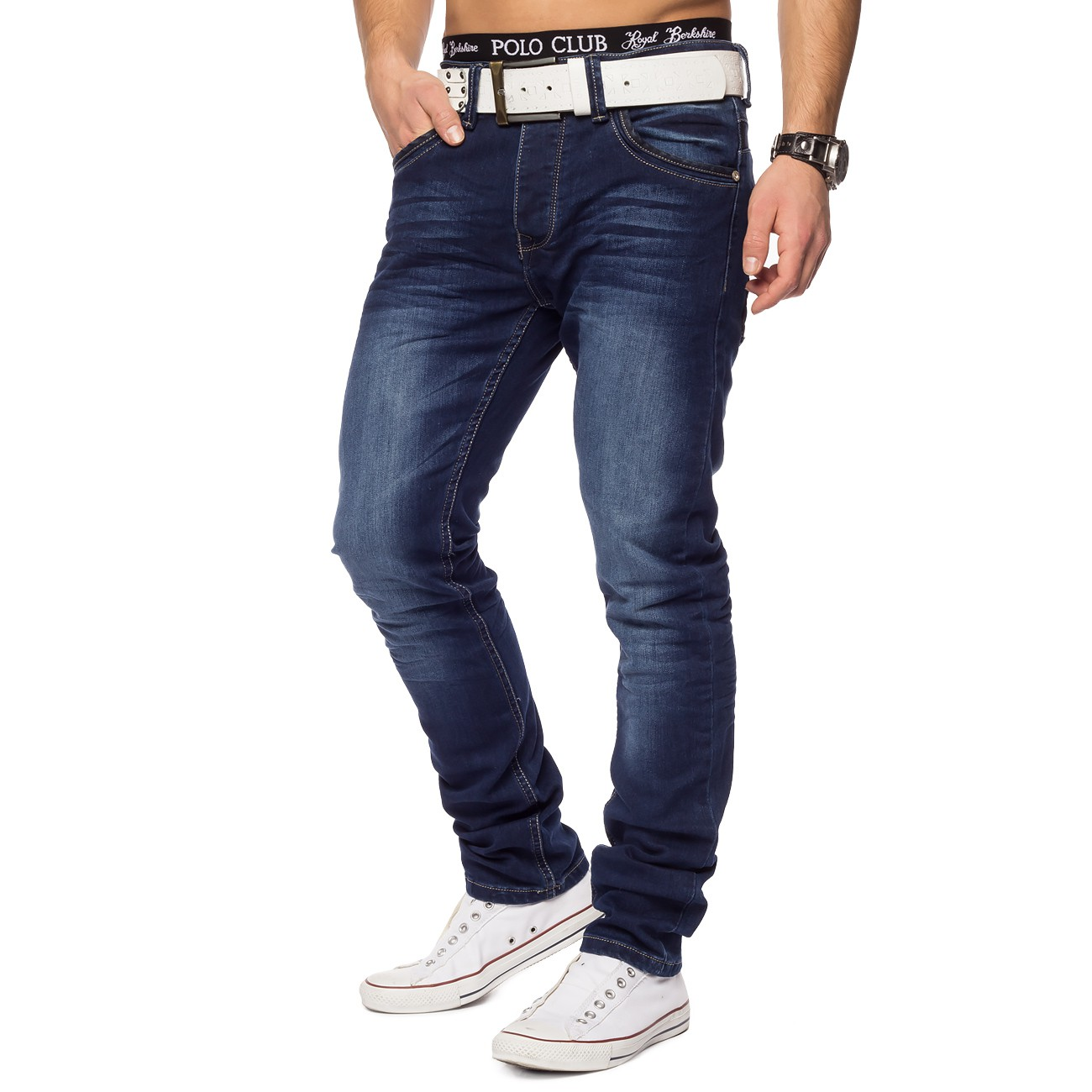 EGOMAXX Herren Chino Hose Slim Fit Stretch Jeans Tapered Leg Casual