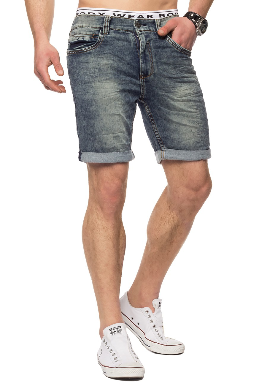 herren denim jeans shorts kurz stretch dehnbar hose. Black Bedroom Furniture Sets. Home Design Ideas