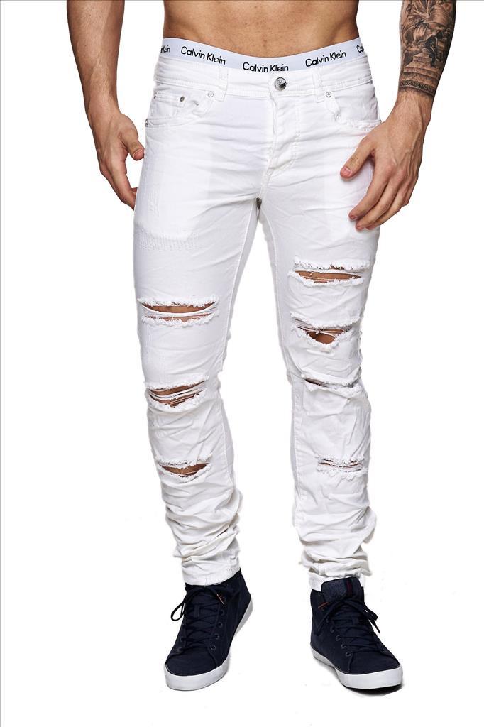 Herren destroyed Jeans Denim Style weiß zerissen Slim Fit Risse Used ...