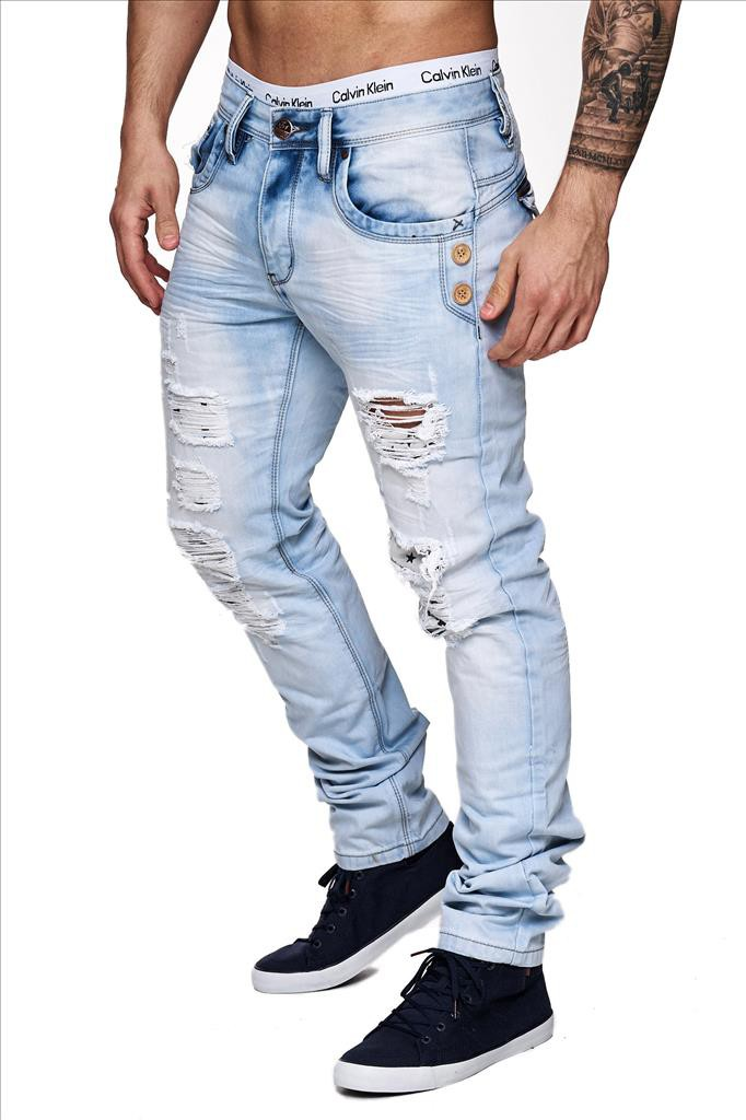 herren jeans zerissen destroyed denim used look hose slim fit hellblau ebay. Black Bedroom Furniture Sets. Home Design Ideas