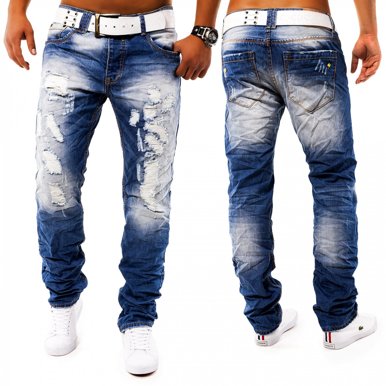men 39 s jeans pants toruk destroyed denim distressed slim fit ripped blue ebay. Black Bedroom Furniture Sets. Home Design Ideas