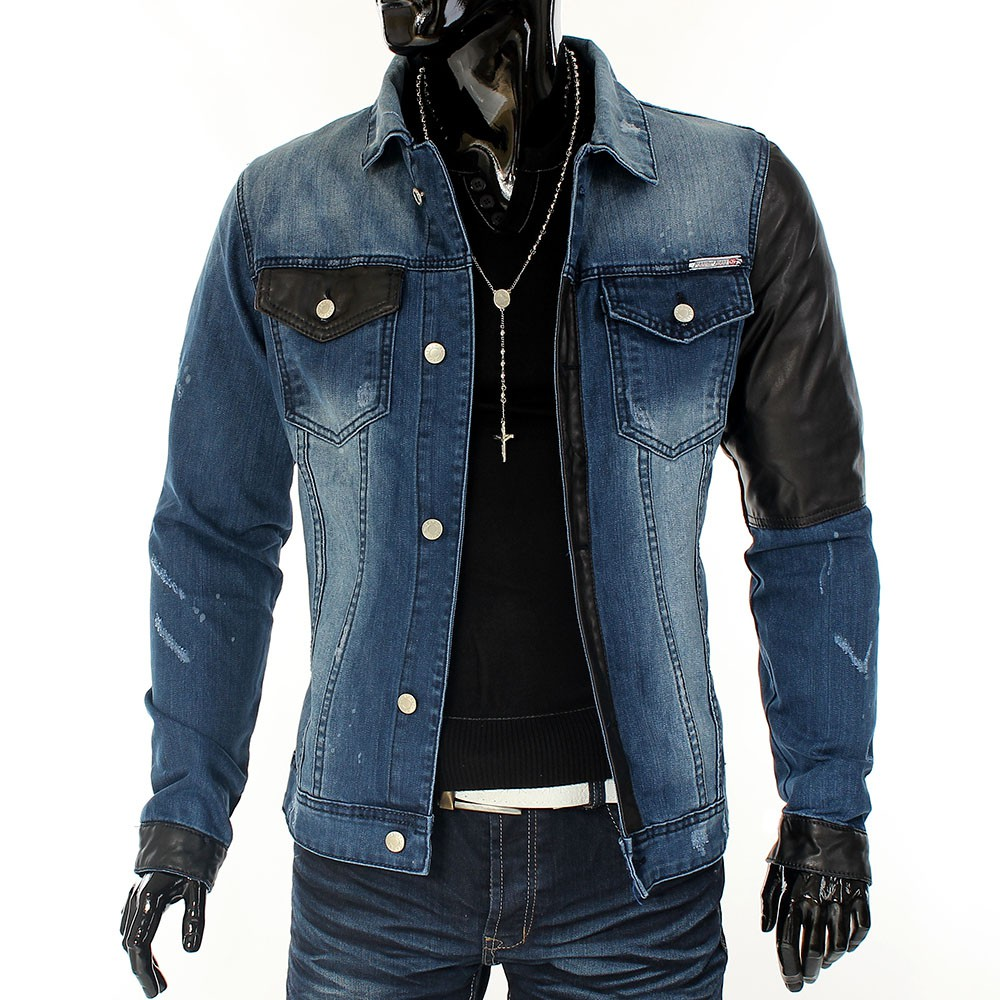 herren jacke jeansjacke leder jeans denim hawk blau plus. Black Bedroom Furniture Sets. Home Design Ideas