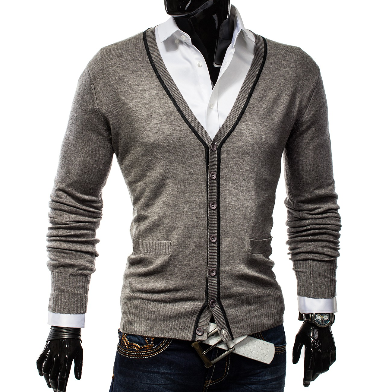herren v neck cardigan pullover sweatshirt strickjacke v ausschnitt easy club ebay. Black Bedroom Furniture Sets. Home Design Ideas