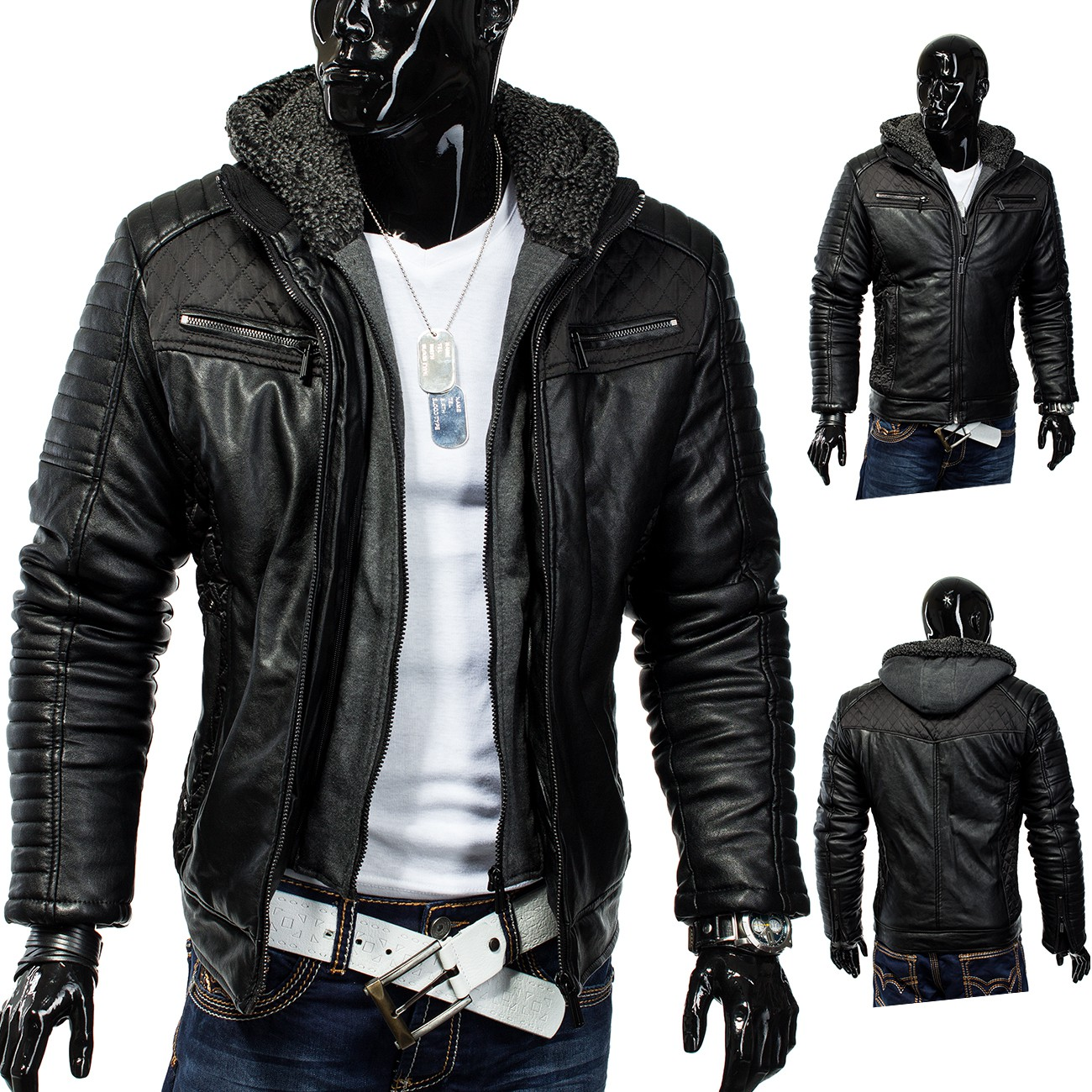 herren winterjacke jacke dope dragon biker lederjacke. Black Bedroom Furniture Sets. Home Design Ideas