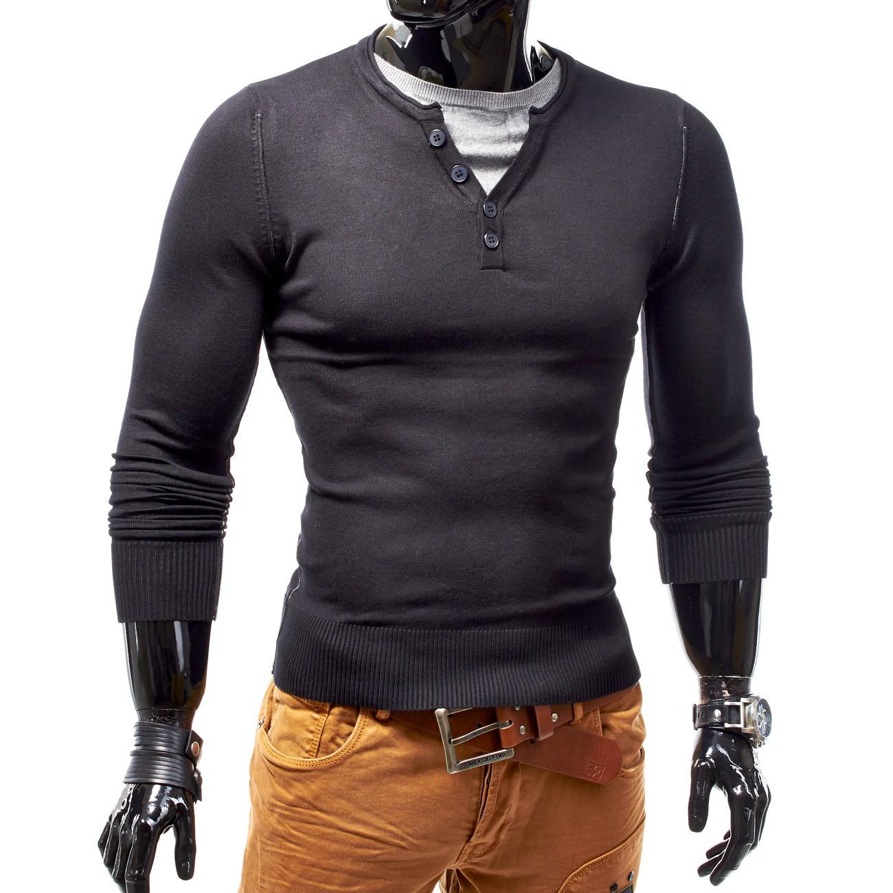 Herren Pullover Sweater Longsleeve Shirt Figurbetont V Neck Straightiator