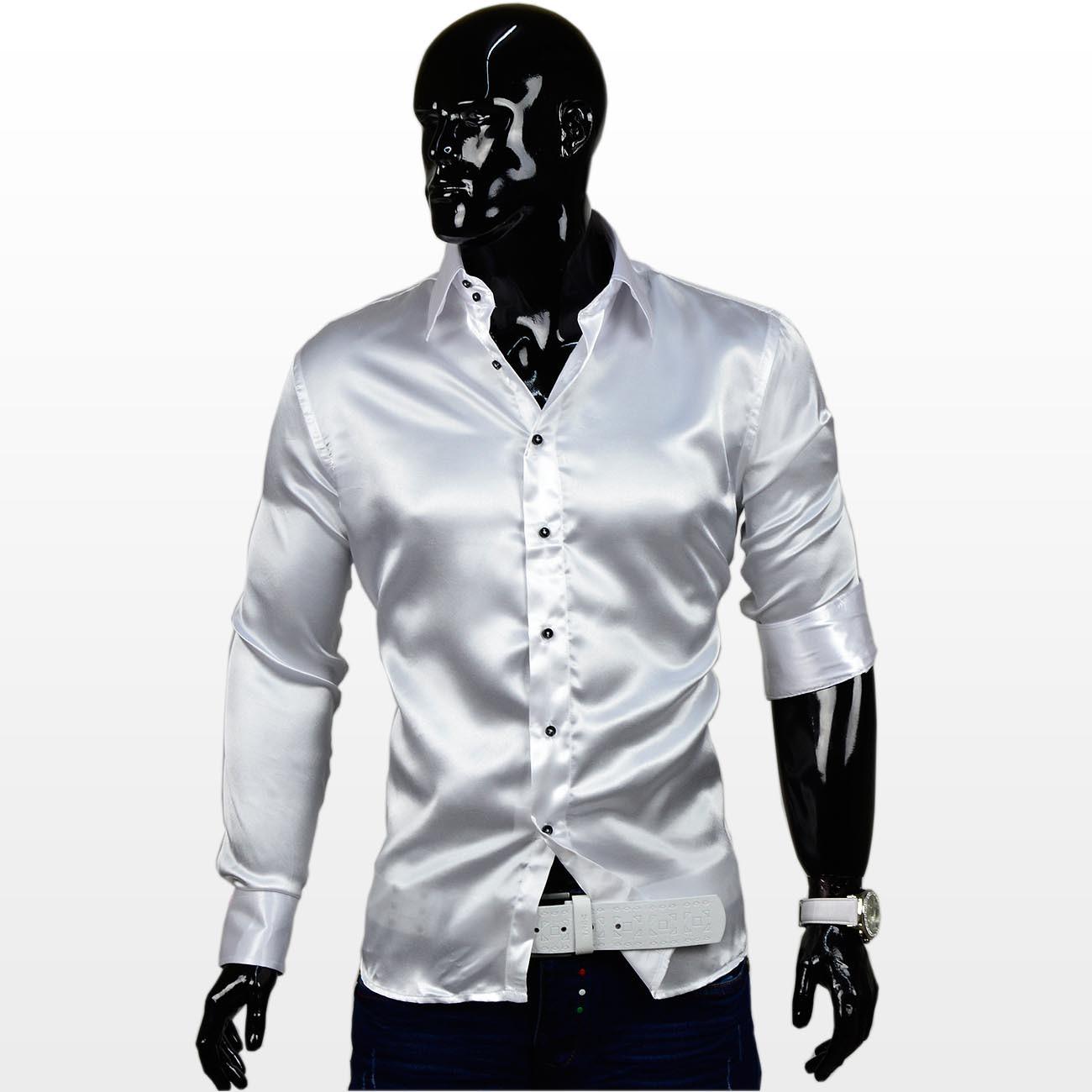 Herren Satin Hemd glänzend Polo Shirt Langarm Figurbetont glanz Club ... 8a73e489fb