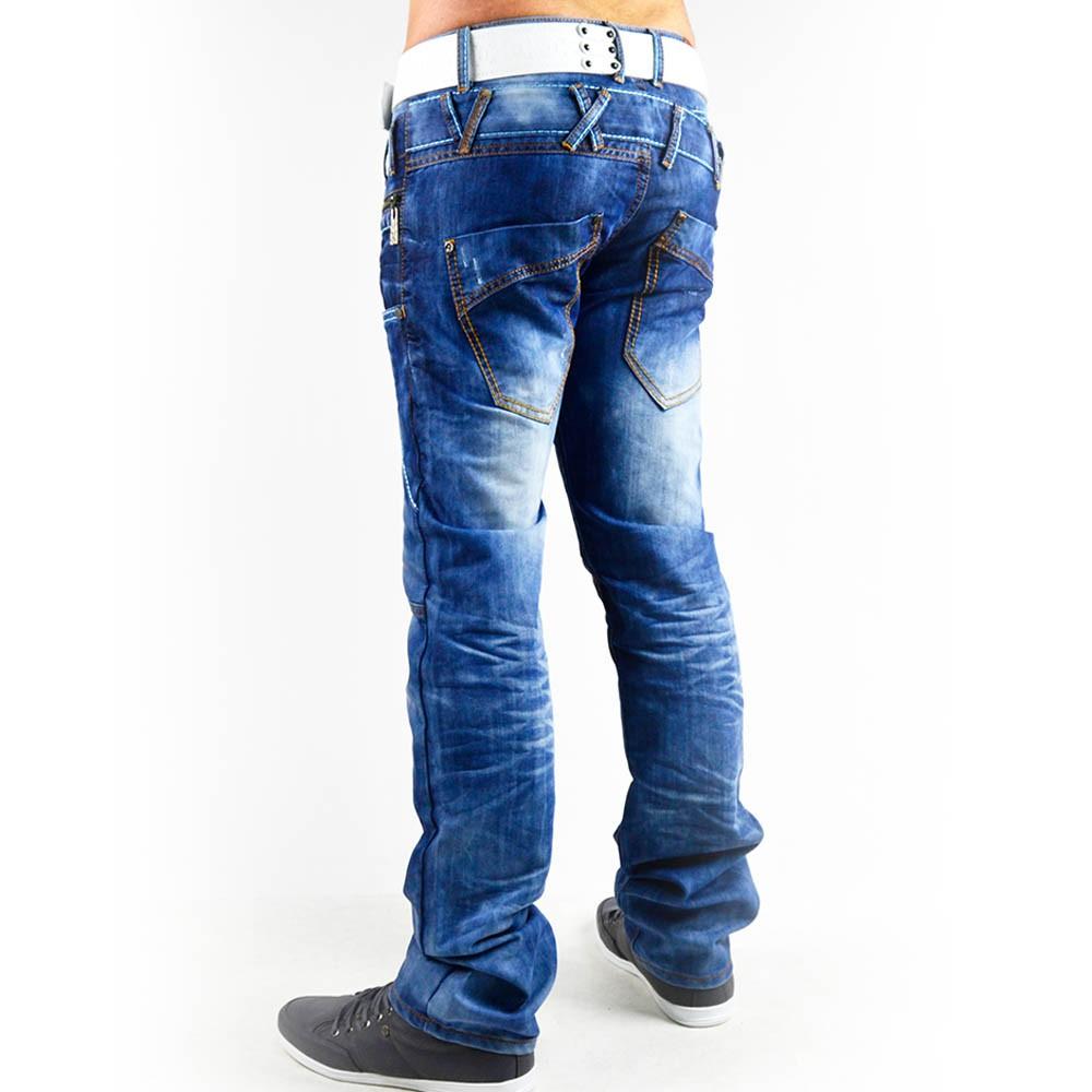 neu herren jeans hose mit dicken n hten vintage clubwear crazy slim. Black Bedroom Furniture Sets. Home Design Ideas