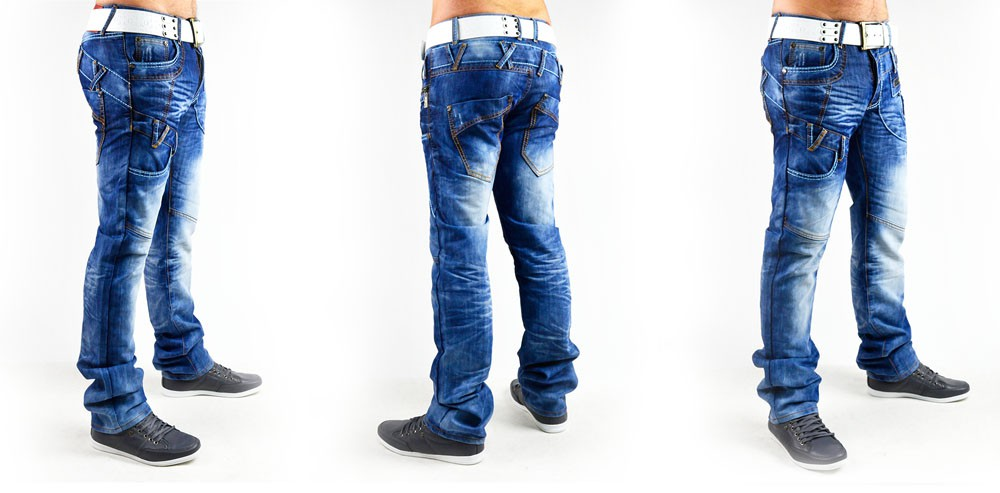 details zu neu herren jeans hose mit dicken n hten vintage clubwear. Black Bedroom Furniture Sets. Home Design Ideas