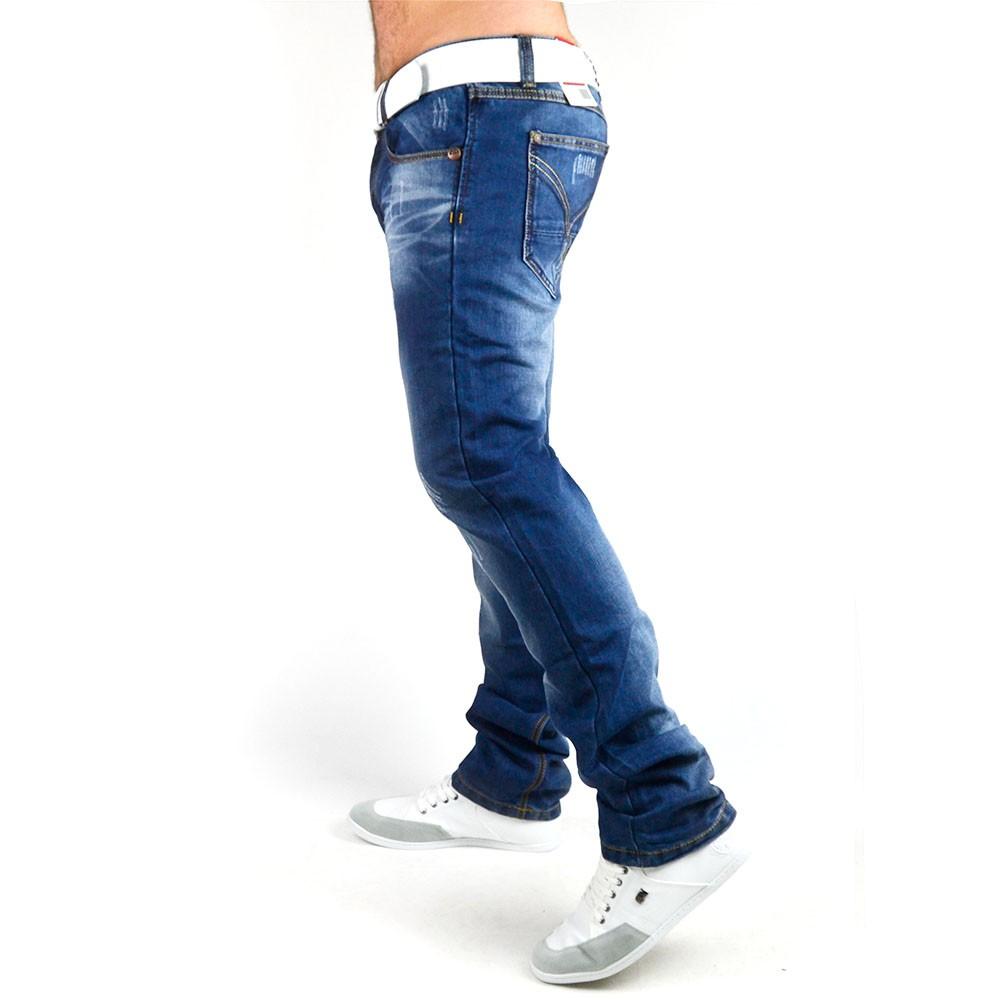 neu herren jeans hose mit dicken n hten vintage clubwear slim fit 004. Black Bedroom Furniture Sets. Home Design Ideas