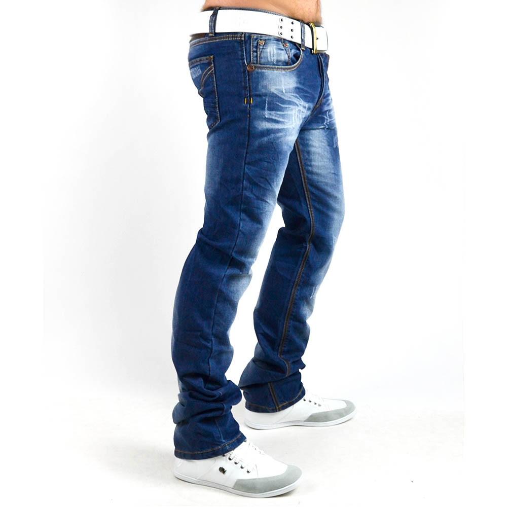 neu herren jeans hose mit dicken n hten vintage clubwear slim fit 002. Black Bedroom Furniture Sets. Home Design Ideas