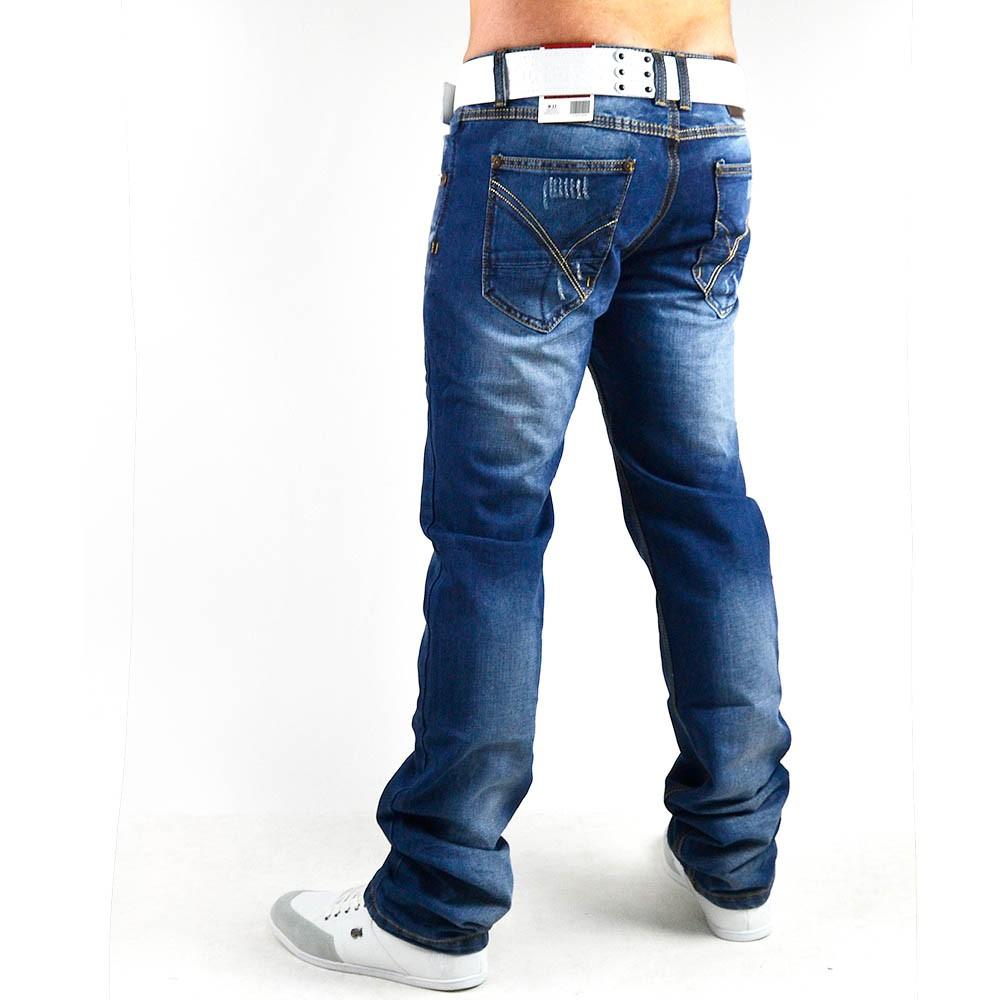 neu herren jeans hose mit dicken n hten vintage clubwear slim fit 003. Black Bedroom Furniture Sets. Home Design Ideas