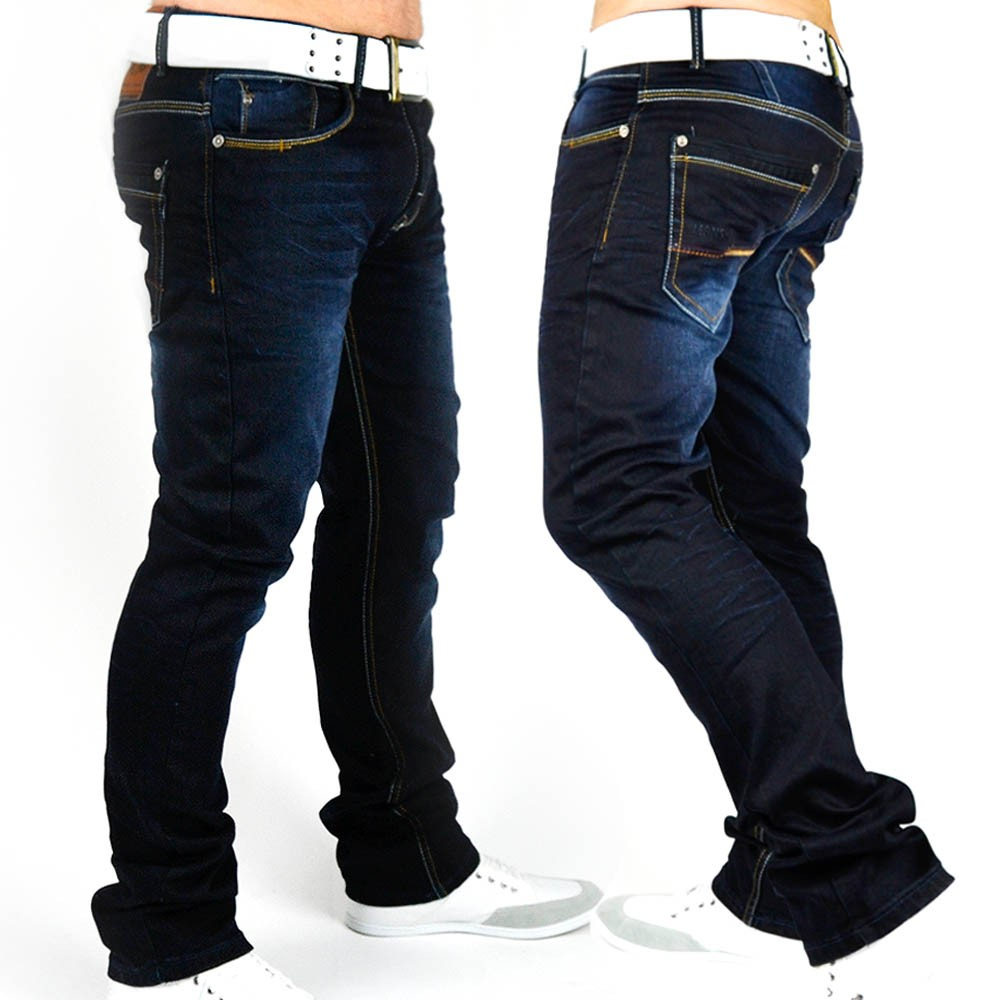 neu herren jeans hose designer denim dunkelblau style slim fit clubwear loverboy ebay. Black Bedroom Furniture Sets. Home Design Ideas