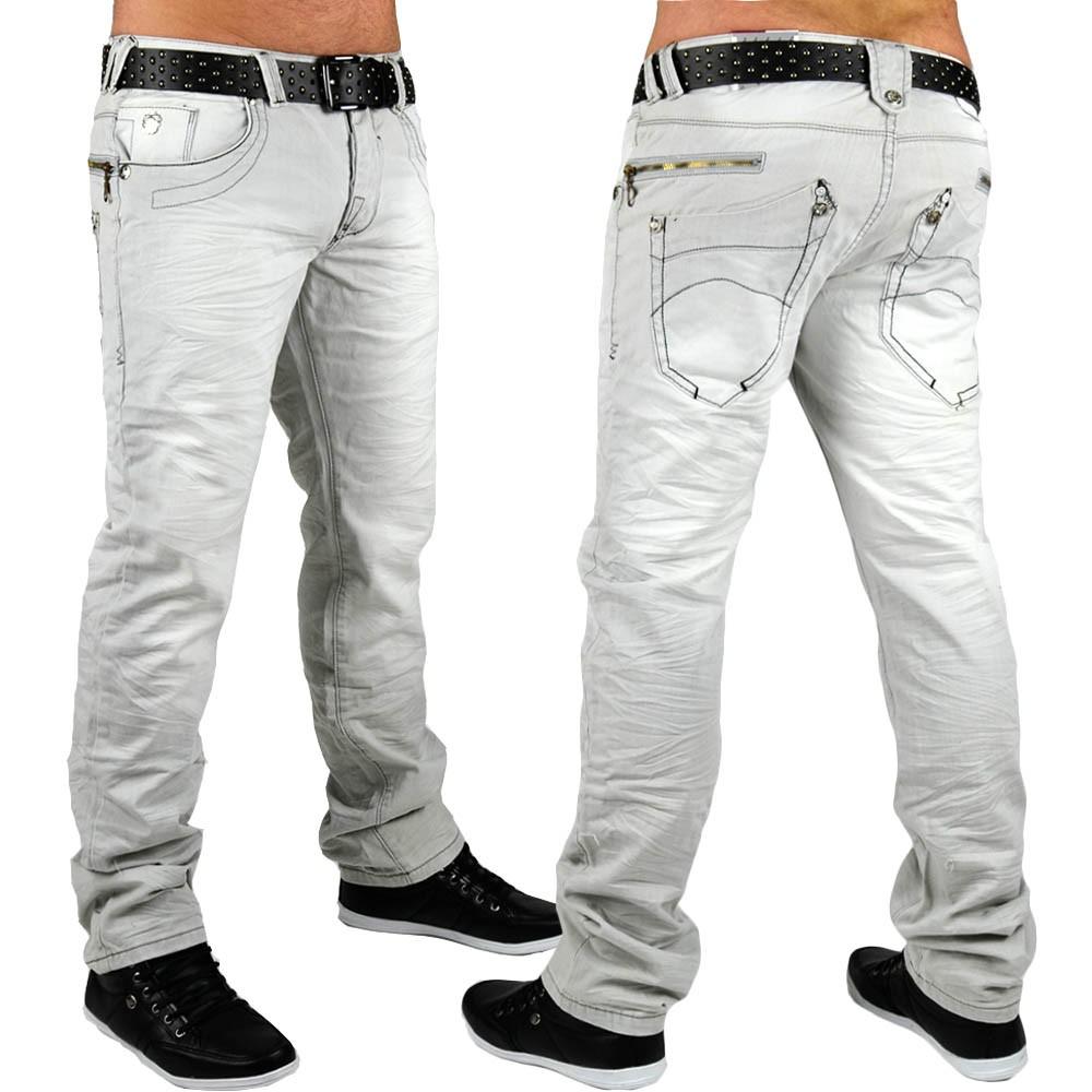 neu herren jeans hose designer grau slim fit clubwear. Black Bedroom Furniture Sets. Home Design Ideas