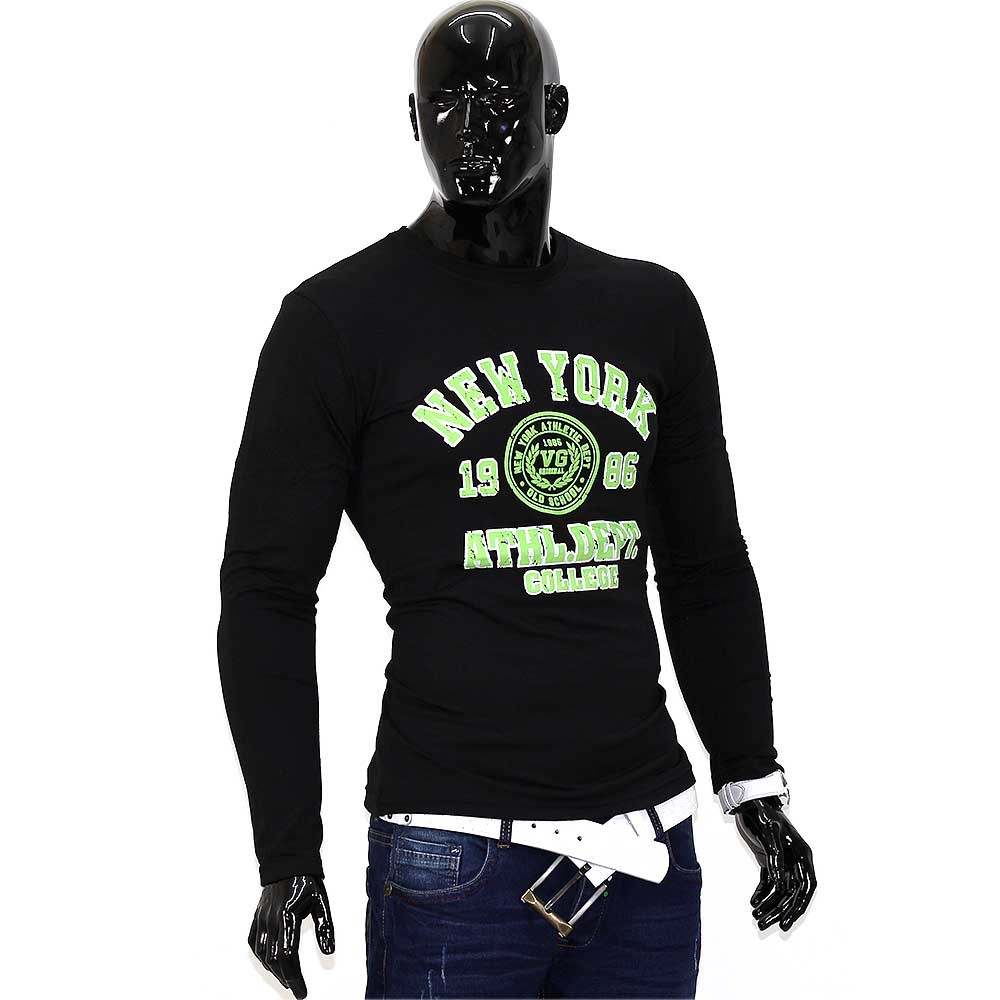 herren new york 2 longsleeve langarmshirt figurbetont. Black Bedroom Furniture Sets. Home Design Ideas