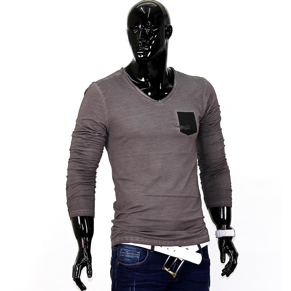 herren longsleeve langarmshirt figurbetont shirt v neck. Black Bedroom Furniture Sets. Home Design Ideas