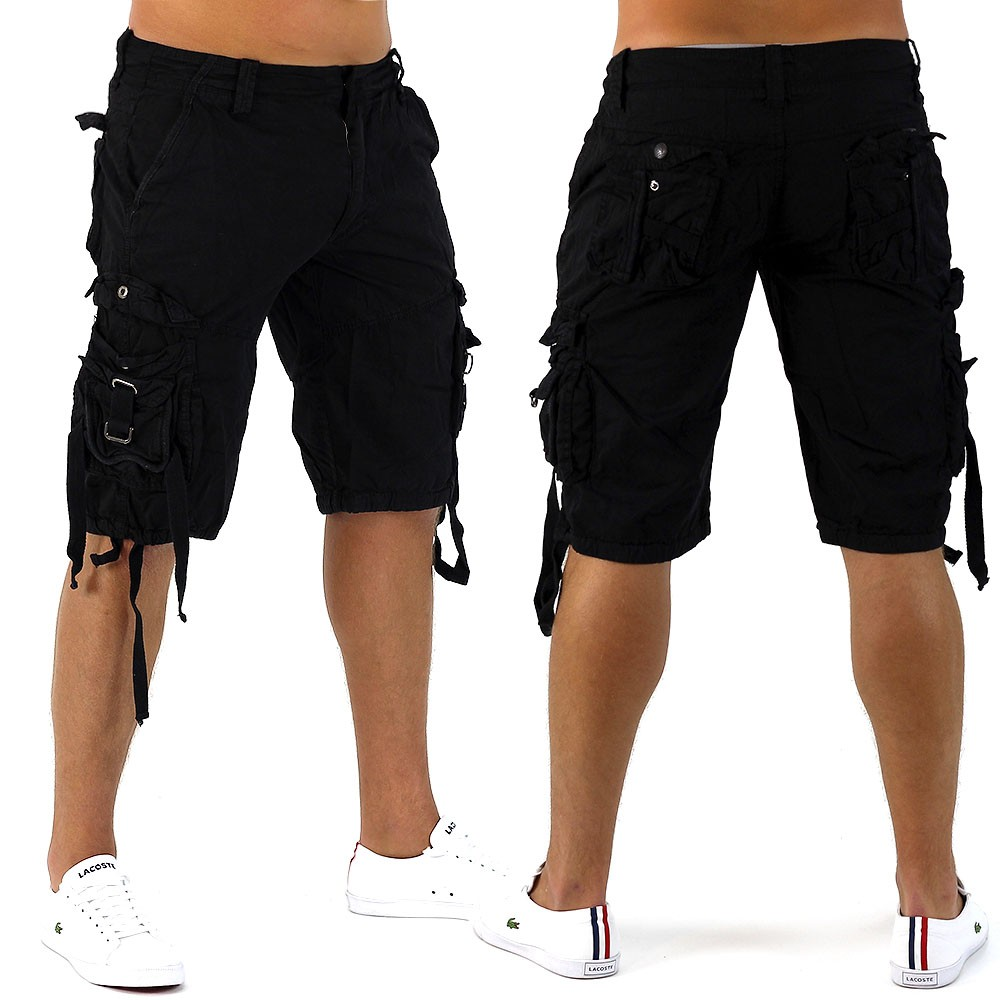 herren shorts black pirat bermuda cargo capri kurze hose vintage short casual de ebay. Black Bedroom Furniture Sets. Home Design Ideas