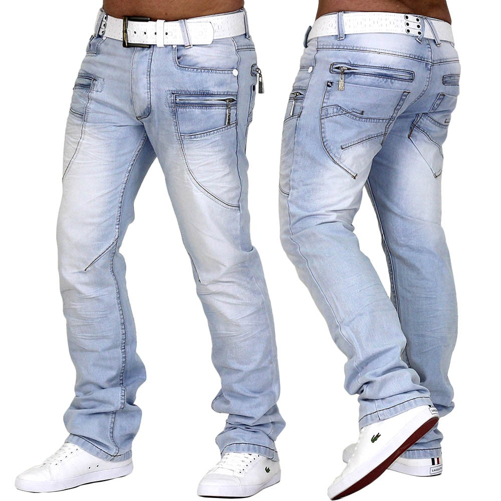 herren jeans hose hellblau denim style slim fit clubwear hi noon. Black Bedroom Furniture Sets. Home Design Ideas