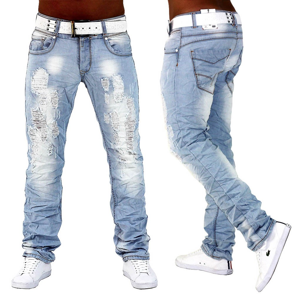 herren jeans hose hellblau denim destroid slim fit clubwear cloud pillow de2 ebay. Black Bedroom Furniture Sets. Home Design Ideas