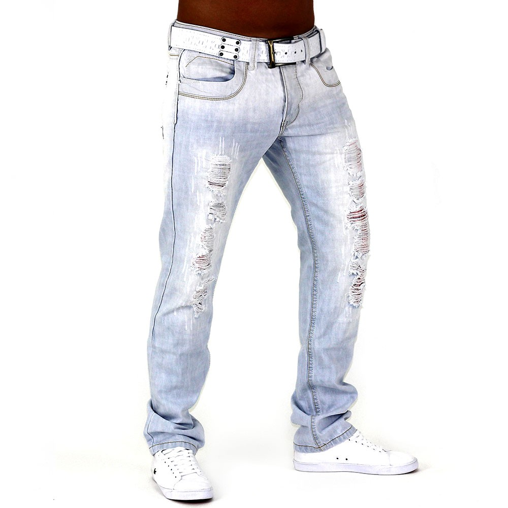 herren jeans hose hellblau sky denim destroid slim fit clubwear white gull plus kaufen bei. Black Bedroom Furniture Sets. Home Design Ideas