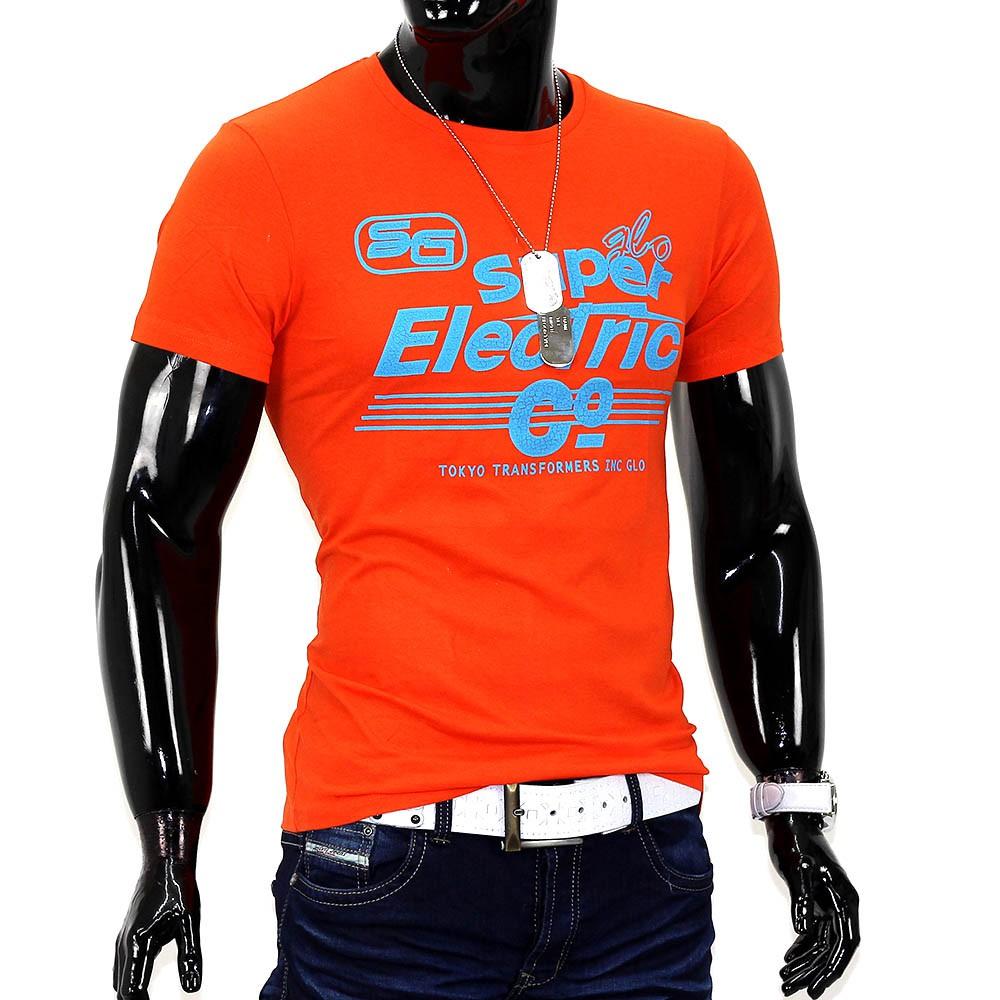 Herren Sommer T-Shirt Polo Stretch Slim fit Clubwear Shirt Glo-Story