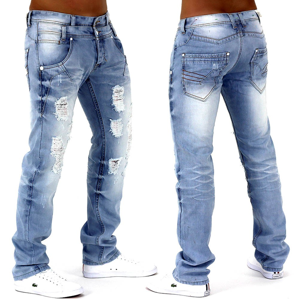 herren jeans hose hellblau denim destroid slim fit clubwear protector de2 ebay. Black Bedroom Furniture Sets. Home Design Ideas
