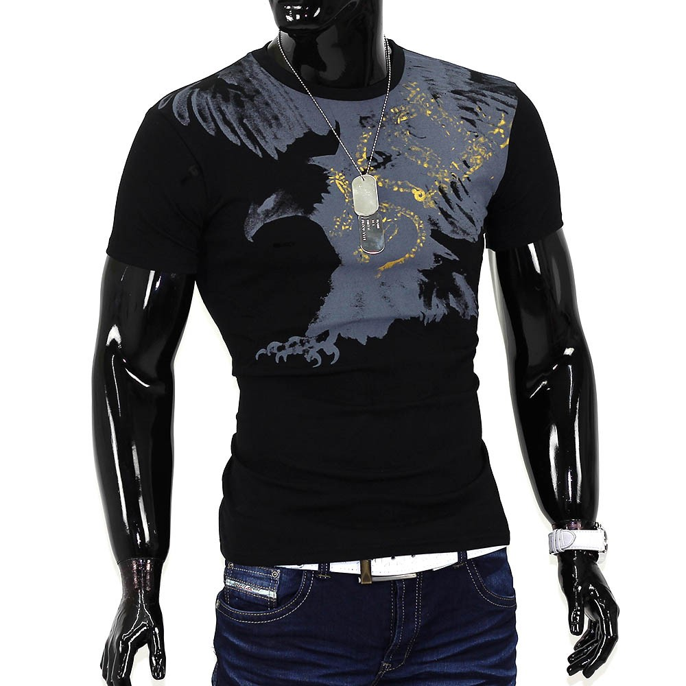 039 s summer t shirt polo stretch slim fit clubwear shirt flying eagle. Black Bedroom Furniture Sets. Home Design Ideas