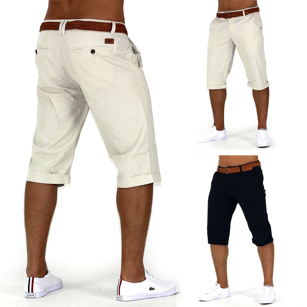 herren shorts ocean breeze jeans bermuda chino capri kurze hose short mit g rtel ebay. Black Bedroom Furniture Sets. Home Design Ideas
